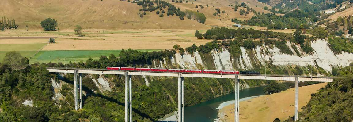 Trains crosses viaduct on scenic New Zealand train journey