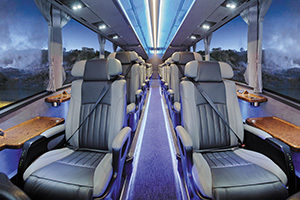 Interior of GP Ultimate bus, luxury travel