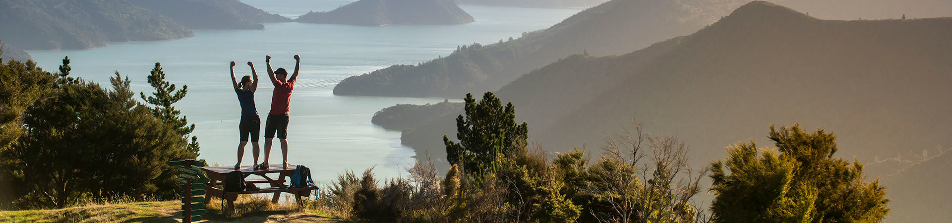 Couple overlooking Marlborough Sounds, New Zealand