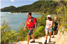 People walking the Abel Tasman Coast Track New Zealand