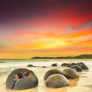 Moeraki Boulders at Sunset