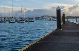 An empty jetty at Bayswater Marina in Auckland