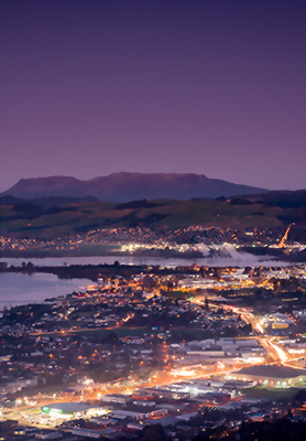 dusk over the city of Rotorua