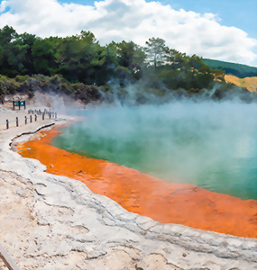 Steam rising from thermal pool in Rotorua