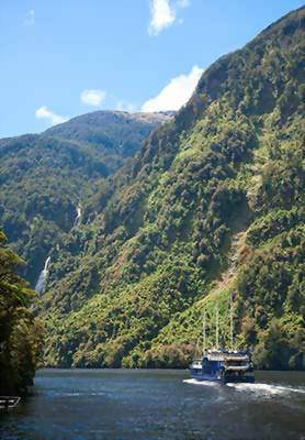 Boat cruise through Fiordland