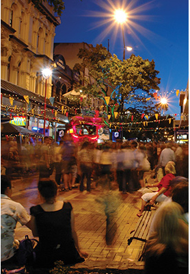 Busy streets at night in Wellington
