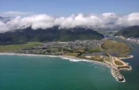 Aerial view over Greymouth, New Zealand