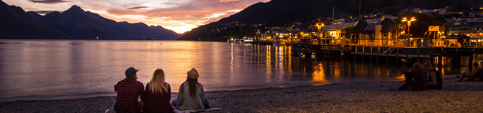 People watching the sunset in Queenstown, New Zealand