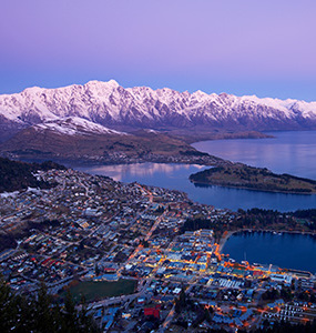 Queenstown at dusk on a winters day