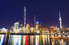 Auckland harbour glowing by night