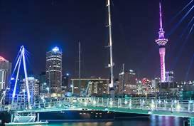 Aucklands Viaduct Harbour at night