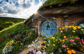 A blue hobbits door in the Hobbiton movie set