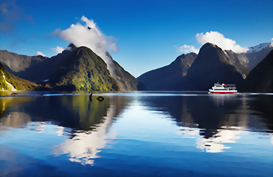 Milford Sound with Mitre peak in the foreground