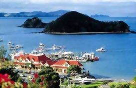 A view of the Paihia wharf from the air