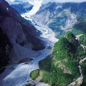 Arial view of Fox Glacier