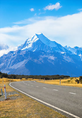 Road to Mount Cook Village
