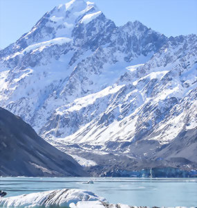 Tasman Glacier beneath Mount Cook