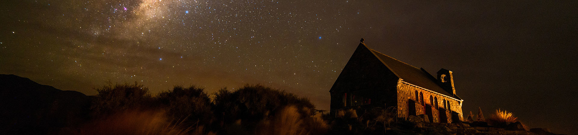 Church of the Good Shepherd nightscape, Mt Cook National Park