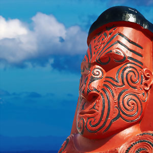 Traditional Maori carving near Rotorua New Zealand