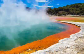 a Geothermal pool in Rotorua with steam rising off