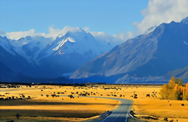 The road to Mount Cook National Park with Mount Cook in the background