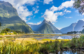 A profile of Mitre Peak in Milford Sound