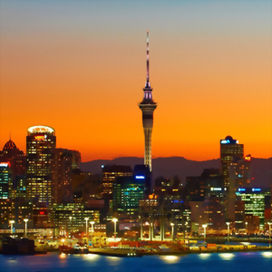 Auckland, New Zealand. City Skyline at dusk.