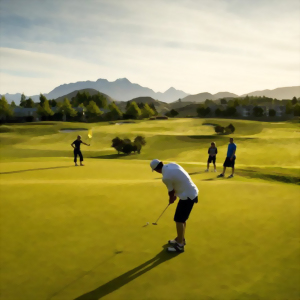 Chipping onto the green, golfing in New Zealand