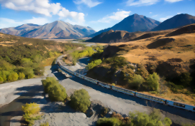 The Tranz Alpine Scenic Train heading towards the Southern Alps