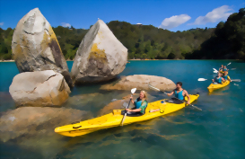 kayakers exploring Split Apple rock in Abel Tasman National Park