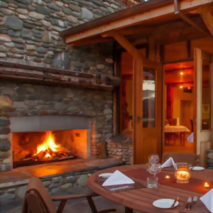 Outdoor diners at Fiordland Lodge, New Zealand