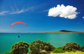 Flyer enjoying the view of Auckland's Rangitoto Island
