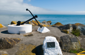 The anchor memorial on the ocean front at Westport, New Zealand