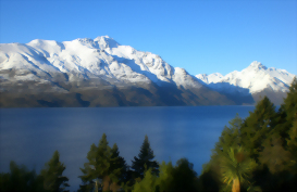 View across Lake Wakatipu, Queenstown, New Zealand