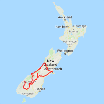 New Zealand Road Map South Island.5 Day Southern Tour Christchurch Queenstown Milford Sound