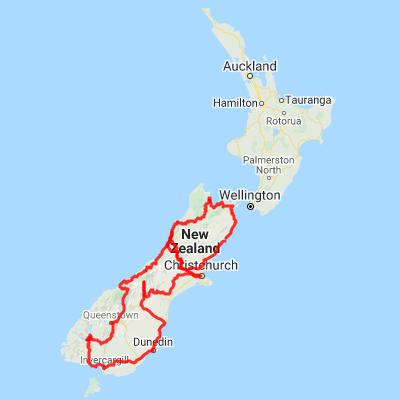 Map New Zealand South Island.21 Day Self Drive Tour New Zealand South Island