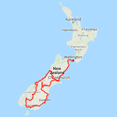 Map Of Southern New Zealand.10 Day Self Drive Tour Highlights Wellington To The Alps