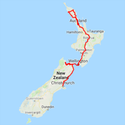 Road Map North Island New Zealand.14 Days Nz Self Drive Itinerary Christchurch To Auckland