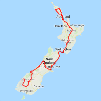 New Zealand Driving Map.19 Day Classic Nz Driving Tour North South Islands