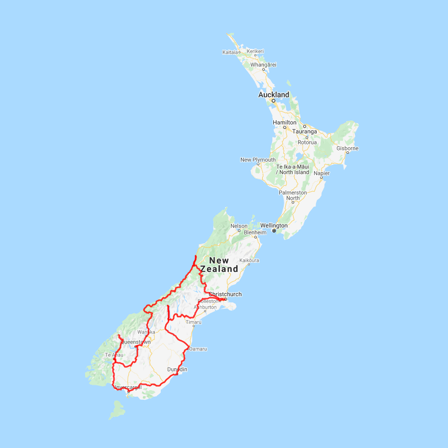 Road Map Of New Zealand South Island.15 Day South Island Spectacular Self Drive Holiday