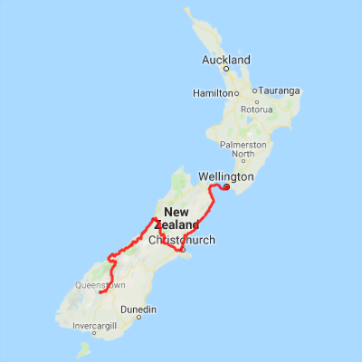 Map Of New Zealand Queenstown.9 Day Queenstown To Wellington Self Drive Package