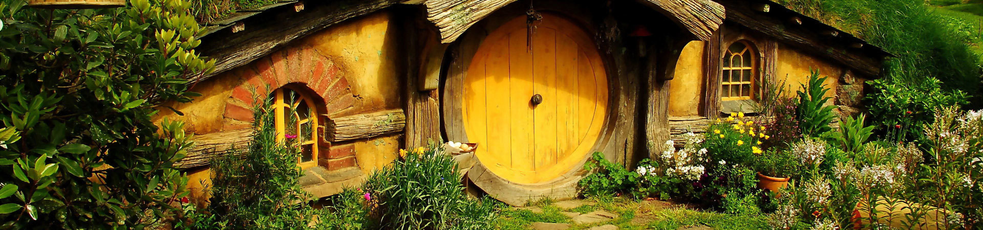 The famous hobbit houses at The Shire, New Zealand