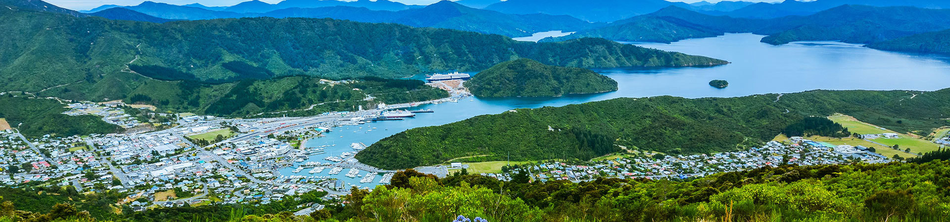 Picton harbour at the top of New Zealand's South Island