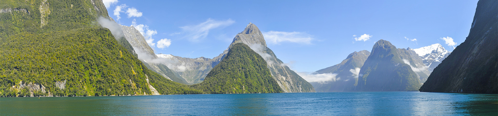 View of Mitre peak in Milford Sound, South Island New Zealand